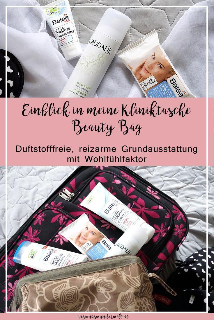Inhalt meiner Kliniktasche Beauty Bag für die Geburt Duftstofffreie, reizarme Produkte mit Wohlfühlfaktor