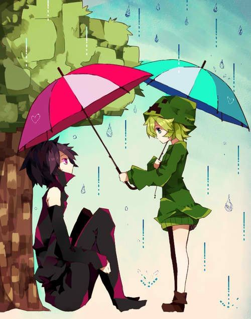 Anime minecraft, enderman and creeper. This is silly, but I thought it was cute.