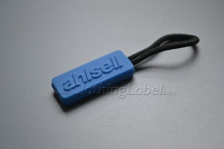 zipper puller,plastic, polyester string,embossed logo