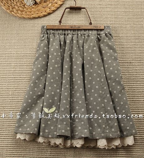Polka dot and lace skirt sewing inspiration