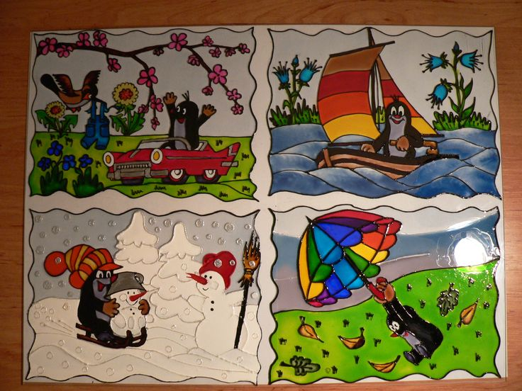 glass painting - Little mole = Üvegfestés - Kisvakond