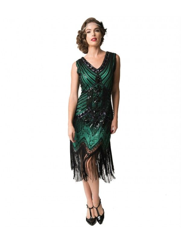 8d56db1e Unique Vintage Women's 1920s Deco Green & Black Sequin Veronique Fringe Flapper  Dress