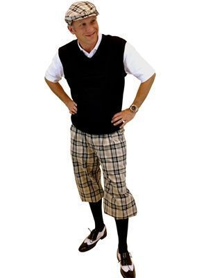 Khaki Turnberry Plaid Golf Knickers and matching cap are complemented by this Black Sweater Vest and Socks to create a classy complete golf knickers outfit. #GolfKnickers