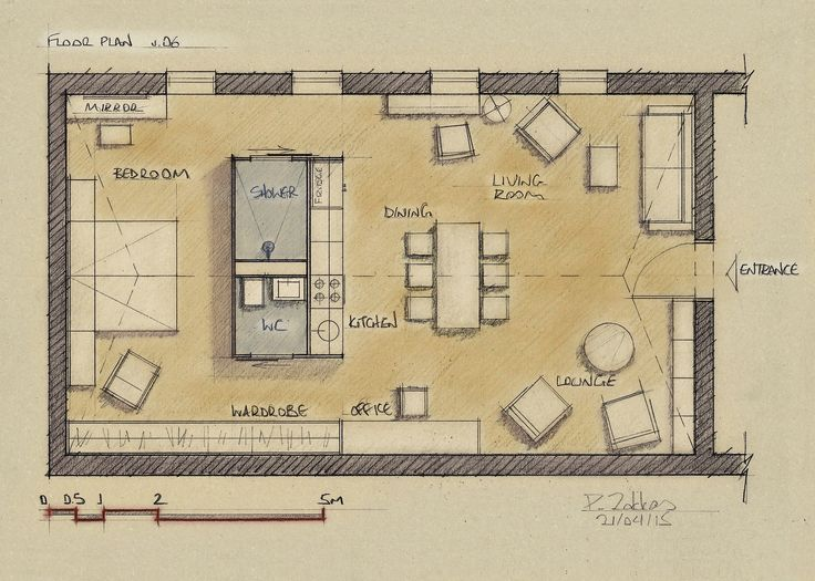 Loft Apartment 75 sqm, Floor Plan, Version 06 - www.pzarch.gr