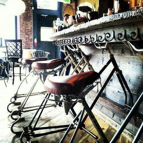 Creating an amazing #vintage #look can be easy using #up-cycled #bikes as #bar #stools #Bike #bar #stool #vintage #decoration #eco-hostel #recycle #up-cycle #deco #design #hostelgeeks