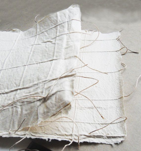 Unique handmade paper with string. Highly textural for books arts, paper quilts, collages, bookbinding. 8x10 inches. set of 5