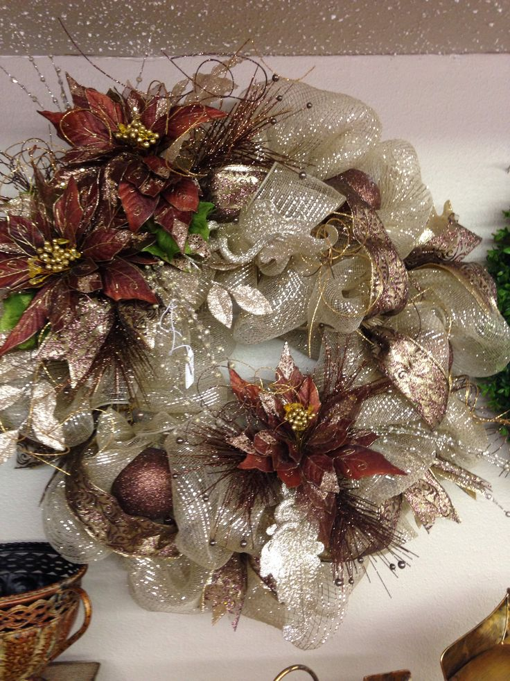 Champagne And Brown Elegant Wreath Christmas Mesh