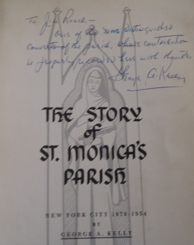 Msgr. George A Kelly autographing a copy for Jim Roach of the St Monica Parish