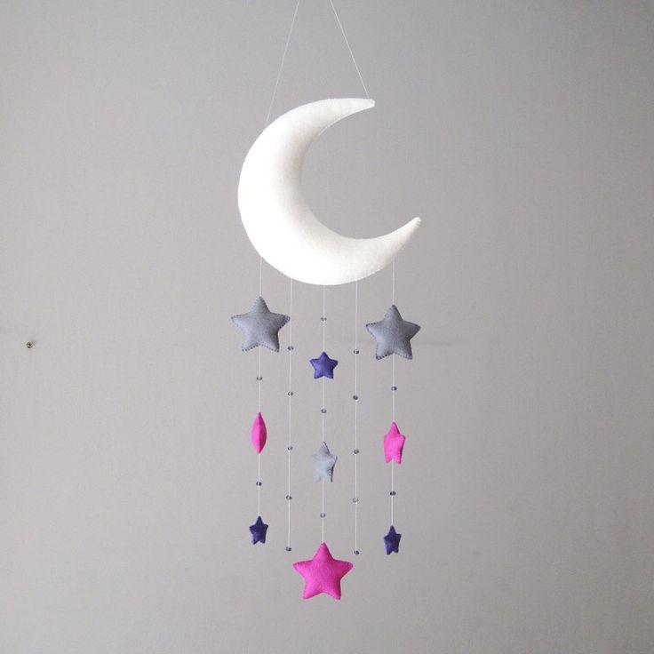 Moon and stars 100% wool felt mobile kids room decoration baby nursery decor by UnBonDiaHandmade on Etsy