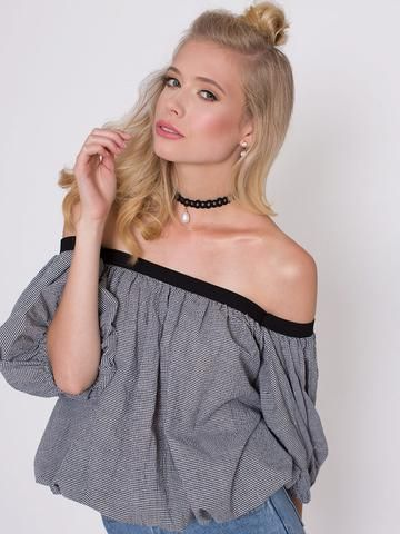 Chaka Black Gingham Off Shoulder Top with Separate Sleeve