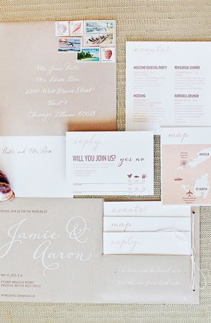 Modern Romantic Destination Wedding Invitations by Made by Kara via Oh So Beautiful Paper (2)