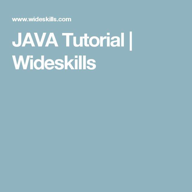 java tutorial wideskills