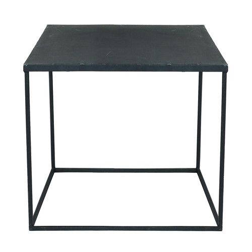Zwarte metalen industriële salontafel met verweerd effect B 45 cm