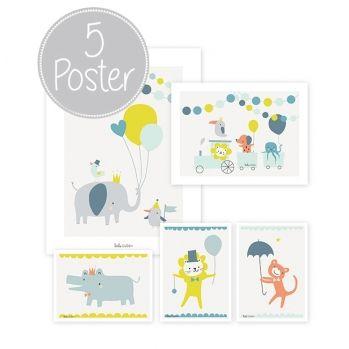Kinderzimmerbilder \'Tierparty\' grau/mint/gelb/blau 5er Set