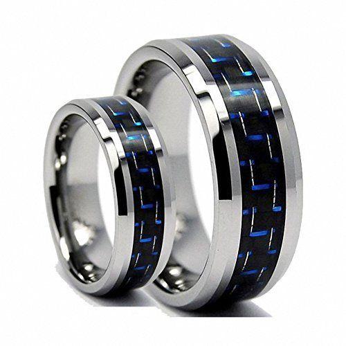 Men & Women 8MM/6MM Tungsten Carbide Wedding Band Ring Set With Blue Carbon Fiber Inlay , Ladies Size 7 - Mens Size 13 Tungsten Ring Set http://www.amazon.com/dp/B00R9SSW74/ref=cm_sw_r_pi_dp_yCDzwb035AV30