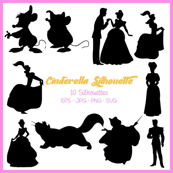 Cinderella Silhouette, Disney Princess Silhouette, Cinderella svg, png, eps, jpg Digital Files, Cut Files, Svg files for silhouette, DSC-023