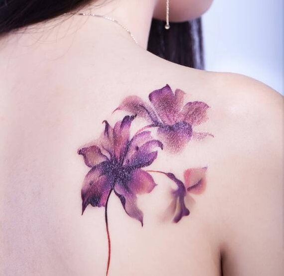 Purple Lily Watercolor Temporary Tattoo Flower Tattoo Shoulder
