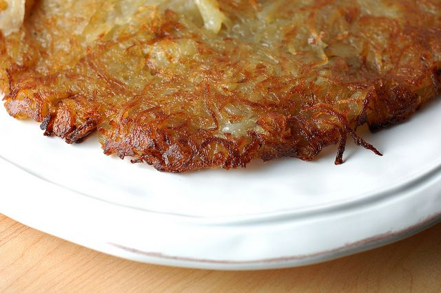 Potato rosti - a beautifully browned potato pancake of epic proportions cooked in clarified butter. Yum!