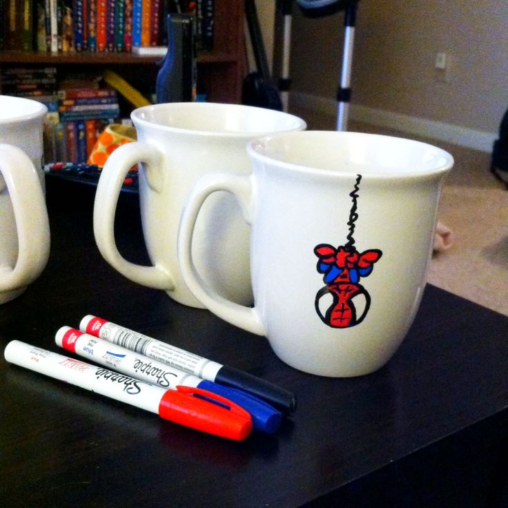 Cute Spider-Man Mug! Used some oil based sharpies! Great ...