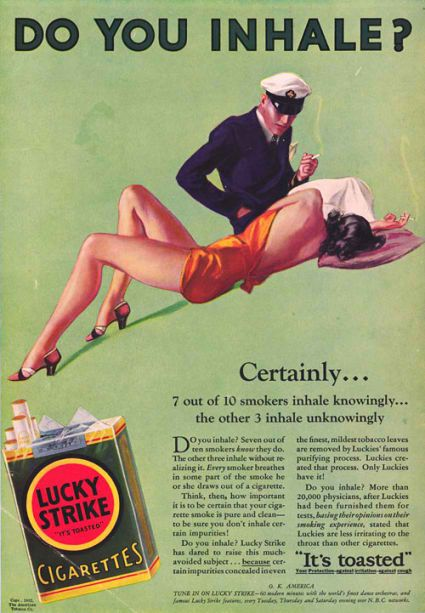 Old Lucky Strike commercial - do you inhale? (or, when sexism was considered cool..Though one must reckon, the image is nice..)