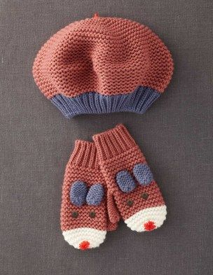 Garter beret and fun mittens