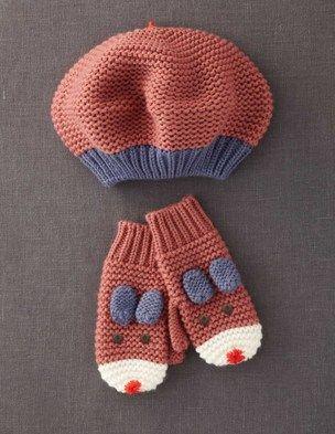 Garter beret and fun mittens