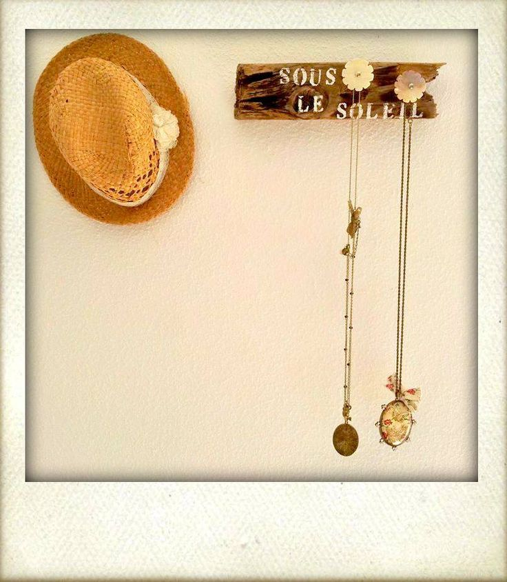 "Hand made wooden necklace hanger "" Sous le soleil"" with 2 handles  20 e"