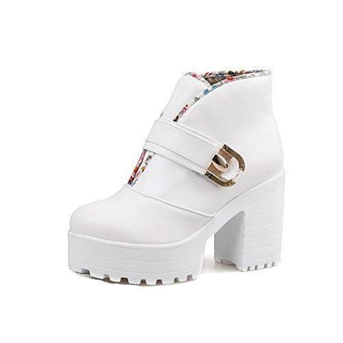 Oferta: 55€ Dto: -24%. Comprar Ofertas de AllhqFashion Mujeres Tobillo Sólido Sin cordones Plataforma Botas con Ornamento Metal, Blanco, 36 barato. ¡Mira las ofertas!