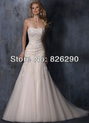 tulle material strapless mermaid white/ivory appliques beaded formal wedding dresses