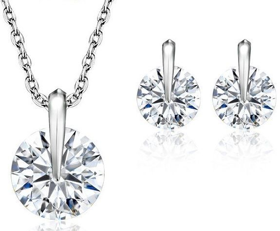 Gift Set Necklace Jewelry Earrings Pendant Silver Xmas Fashion Plated Women CZ #JewelOra