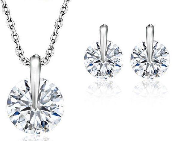 Gift Set Necklace Jewelry Earrings Pendant Silver Xmas Fashion Plated Women CZ #JewelOra