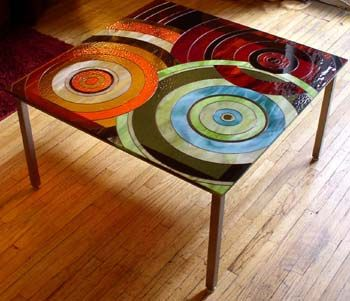 Glass art table