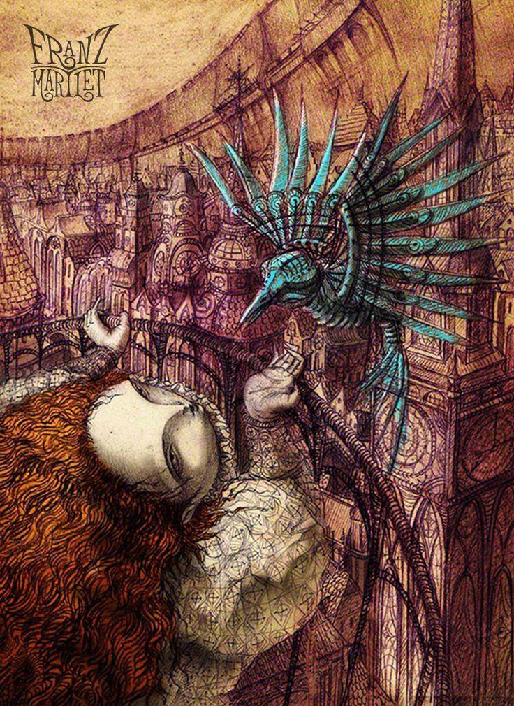 #bird #fairytale #gingerhair #girl #redhead #steampunk #town #franz_martlet