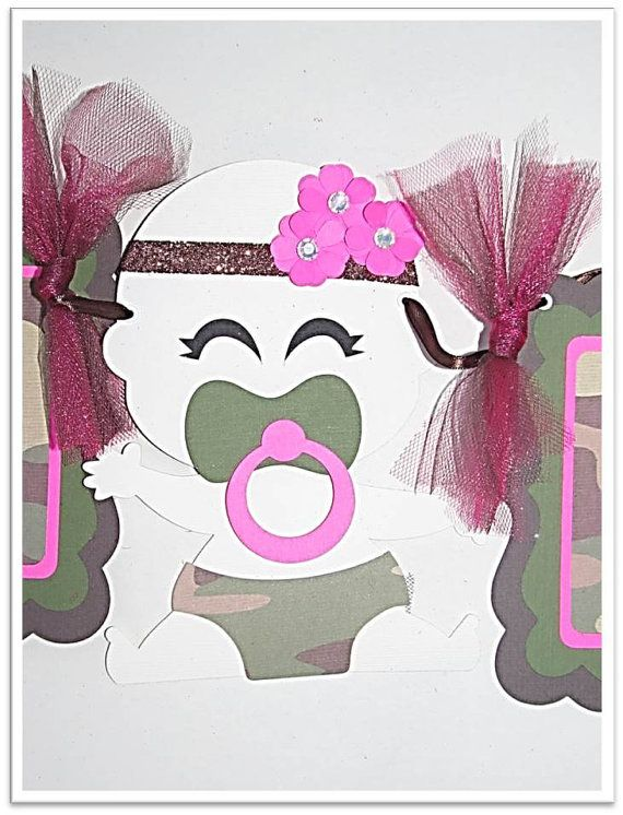 Baby Shower Camouflage Baby Girl Banner by JustForYouBanners, $27.00
