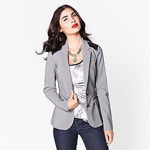 Grey blazer with faux-leather details.