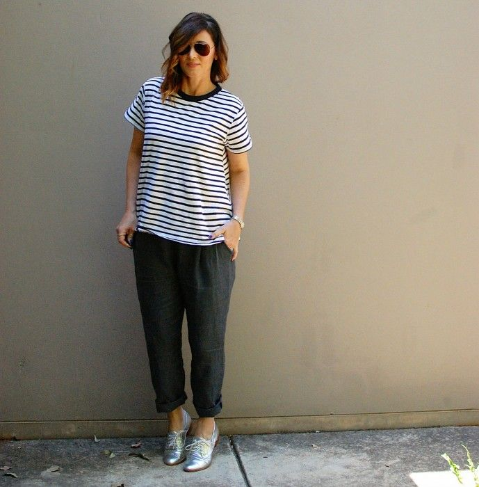 How to wear masculine clothes and still look like a girl. Bohemian Traders Grey Linen Boyfriend trousers and a blue and white striped tee shirt. Dressed up with silver brogues