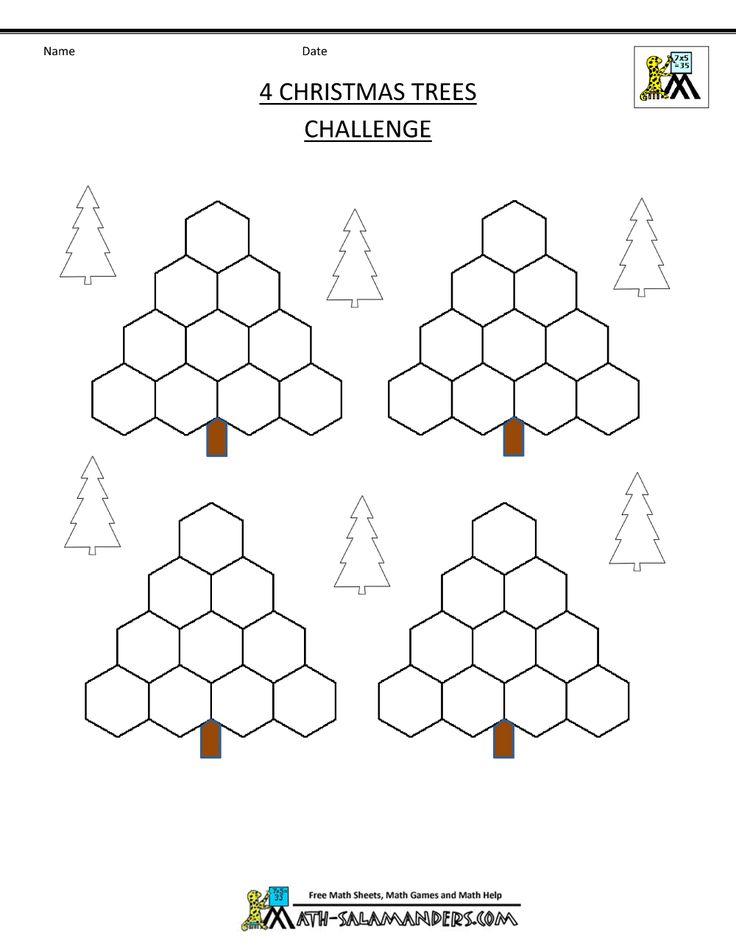 xmas math worksheets 4 christmas trees challenge blank winter holiday math pinterest trees. Black Bedroom Furniture Sets. Home Design Ideas