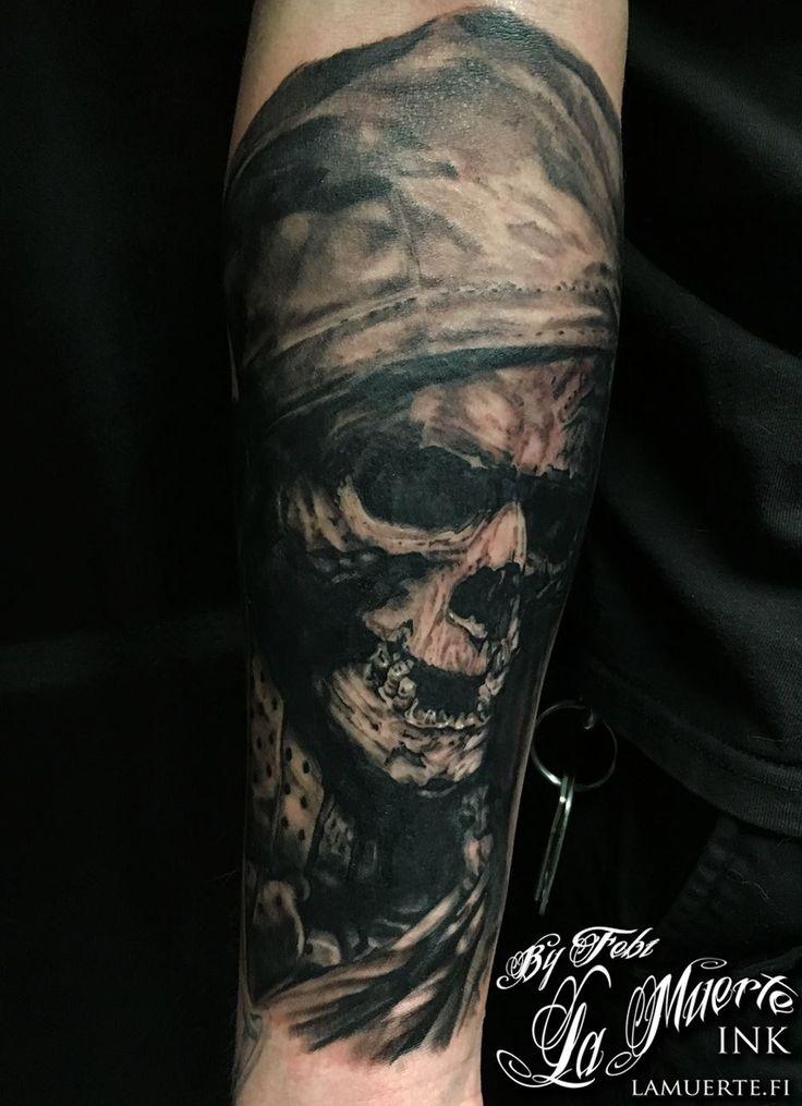 Skull dude tattoo by Febianto Eskelinen @ La Muerte Ink