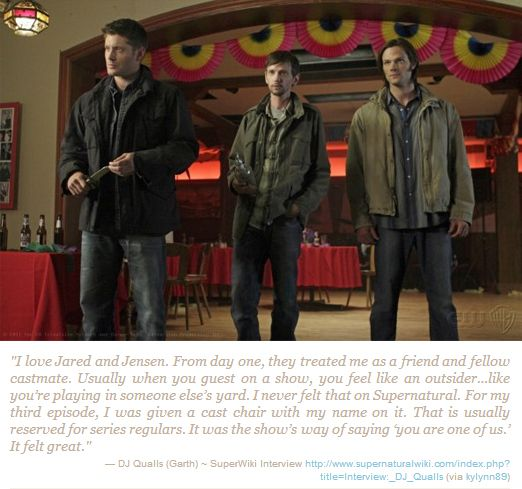DJ Qualls on being a part of the Supernatural family. :) Once on the show forever in our family