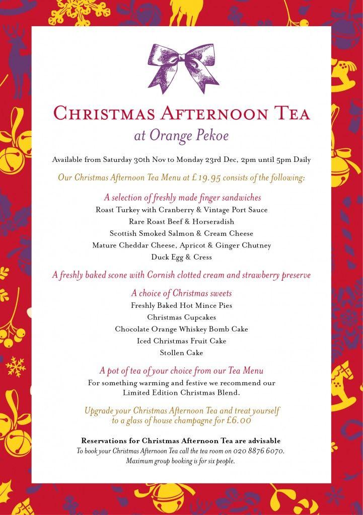 orange pekoe christmas afternoon tea menu