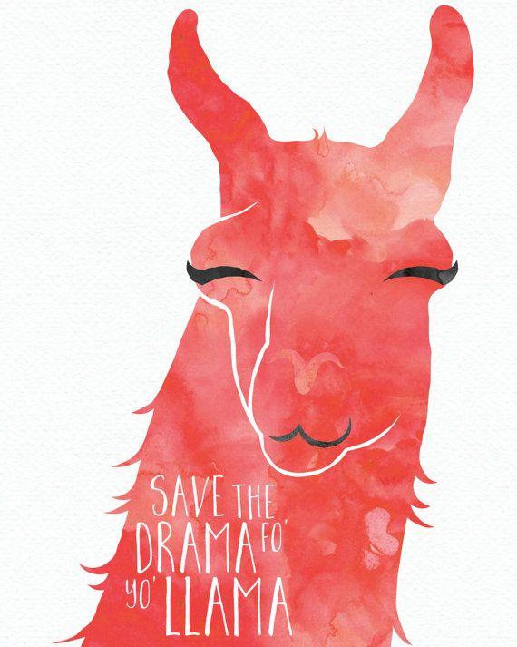 Lama-Drama-Print von WrenAtlasDesigns auf Etsy