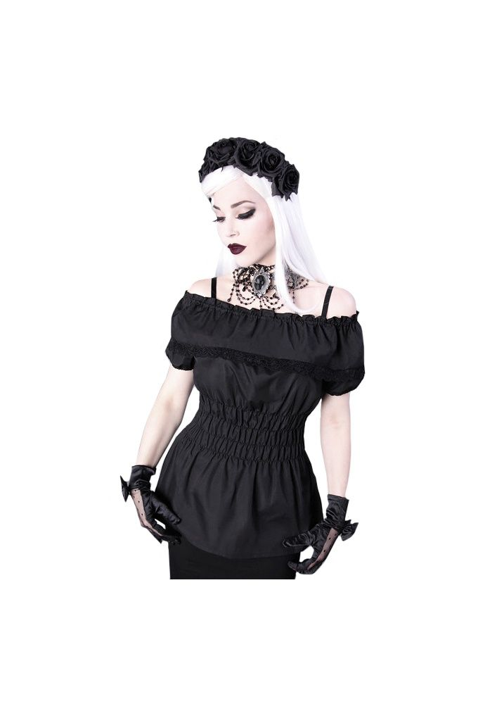 Charlotte Off Shoulder Blouse - Size: L | Steampunk, The Charlotte Off Shoulder Blouse by Restyle is a gorgeous top, and is a great base to glam up with an underbust corset, but looks incredible on its own as well. The shoulder straps are removable, has lots of ruffle detailing and with a stitched waist, it also creates a sexy hourglass figure in steampunk or goth style!
