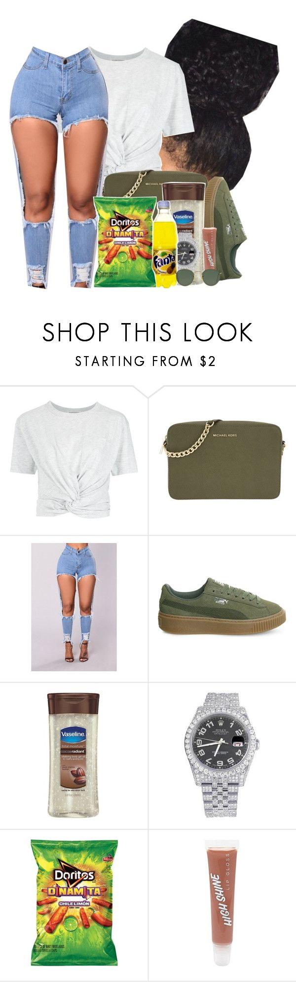 """12*29*17"" by raemiyaa ❤ liked on Polyvore featuring Giuliana Romanno, Michael Kors, Puma, Vaseline, Rolex, Forever 21 and Ray-Ban"