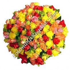 100 Rosas Multicolor a Colombia, Florerias en Colombia a domicilio, Compra Online, Enviar flores a Bogota, Envio de Flores a Bogota, Entrega de flores a domicilio en Bogota Colombia, Enviar Rosas a Cali, Rosas a Bucaramanga, Rosas a Medellin