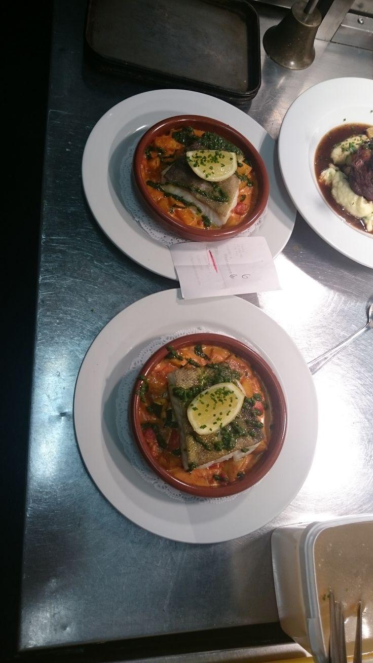 Pan fried hake with roast veg