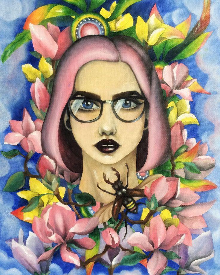 Digital art Pink hair flower девушка розовые волосы очки цветы яркие краски масло холст