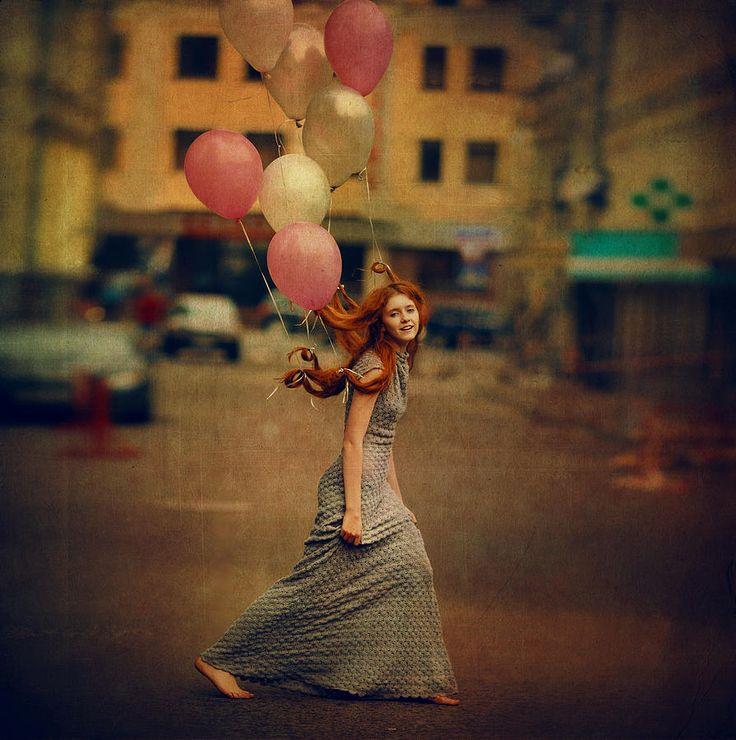 Vintage Photograph - The Girl With Balloons by Anka Zhuravleva