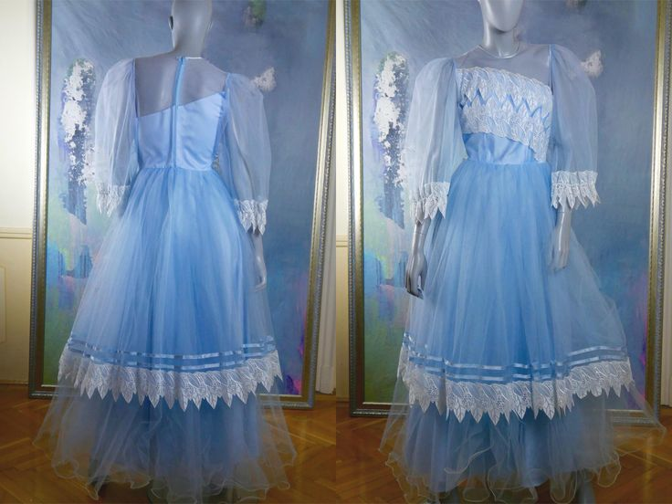 70s Princess Gown, Pale Powder Blue Evening Gown, Fairy Godmother Costume, European Vintage Prom Dress: Size 6 (US), Size 10 (UK) by YouLookAmazing on Etsy