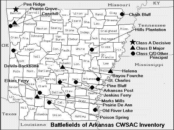 Civil War Map of Battles  State of Arkansas #TheAmericanCivilWar