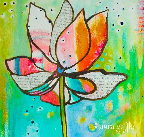 56 best flower paintings images on pinterest paintings of flowers colorful lotus flower painting brave by lauragaffke on etsy mightylinksfo Images